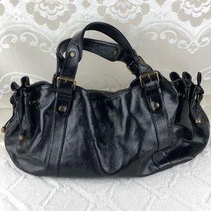 Gerard Darel Black Patent Leather Shoulder Bag